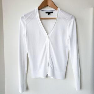 Banana Republic Basic White Cotton Cardigan